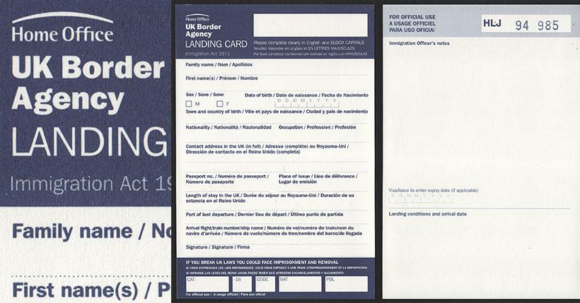 United Kingdom Uk Border Agency Landing Card 2009